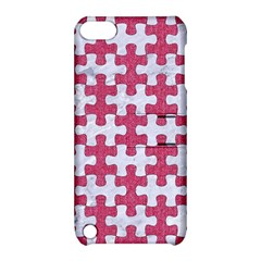 Puzzle1 White Marble & Pink Denim Apple Ipod Touch 5 Hardshell Case With Stand by trendistuff