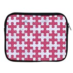 PUZZLE1 WHITE MARBLE & PINK DENIM Apple iPad 2/3/4 Zipper Cases Front