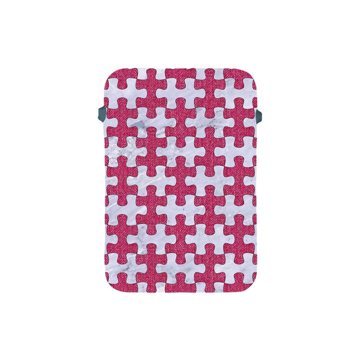 PUZZLE1 WHITE MARBLE & PINK DENIM Apple iPad Mini Protective Soft Cases