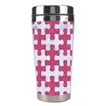 PUZZLE1 WHITE MARBLE & PINK DENIM Stainless Steel Travel Tumblers Center