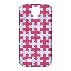Puzzle1 White Marble & Pink Denim Samsung Galaxy S4 Classic Hardshell Case (pc+silicone) by trendistuff