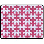PUZZLE1 WHITE MARBLE & PINK DENIM Double Sided Fleece Blanket (Medium)  58.8 x47.4 Blanket Front