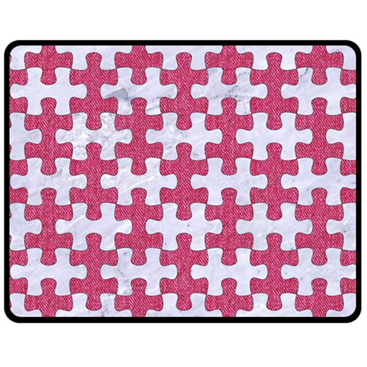 PUZZLE1 WHITE MARBLE & PINK DENIM Double Sided Fleece Blanket (Medium)