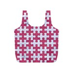 PUZZLE1 WHITE MARBLE & PINK DENIM Full Print Recycle Bags (S)  Back