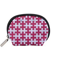 Puzzle1 White Marble & Pink Denim Accessory Pouches (small)  by trendistuff