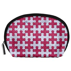 Puzzle1 White Marble & Pink Denim Accessory Pouches (large)