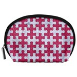 PUZZLE1 WHITE MARBLE & PINK DENIM Accessory Pouches (Large)  Front