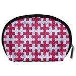 PUZZLE1 WHITE MARBLE & PINK DENIM Accessory Pouches (Large)  Back