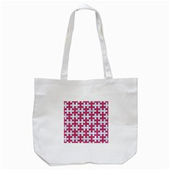 Puzzle1 White Marble & Pink Denim Tote Bag (white)