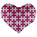 PUZZLE1 WHITE MARBLE & PINK DENIM Large 19  Premium Flano Heart Shape Cushions Front