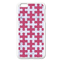 Puzzle1 White Marble & Pink Denim Apple Iphone 6 Plus/6s Plus Enamel White Case