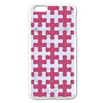 PUZZLE1 WHITE MARBLE & PINK DENIM Apple iPhone 6 Plus/6S Plus Enamel White Case Front