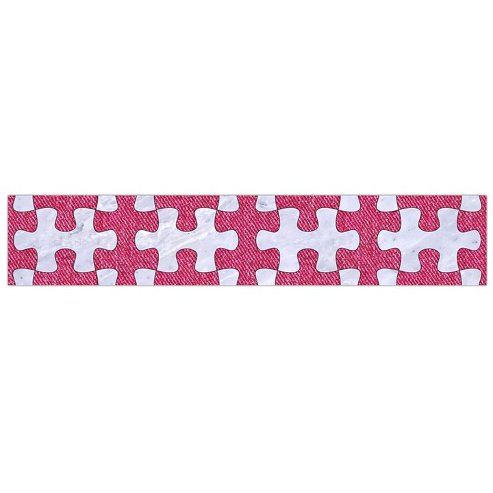 PUZZLE1 WHITE MARBLE & PINK DENIM Large Flano Scarf