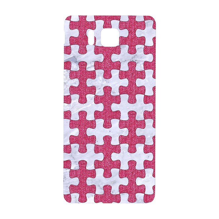 PUZZLE1 WHITE MARBLE & PINK DENIM Samsung Galaxy Alpha Hardshell Back Case