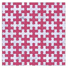 Puzzle1 White Marble & Pink Denim Large Satin Scarf (square)