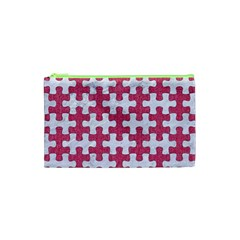 Puzzle1 White Marble & Pink Denim Cosmetic Bag (xs)
