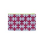 PUZZLE1 WHITE MARBLE & PINK DENIM Cosmetic Bag (XS) Back