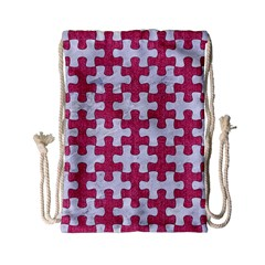 Puzzle1 White Marble & Pink Denim Drawstring Bag (small) by trendistuff
