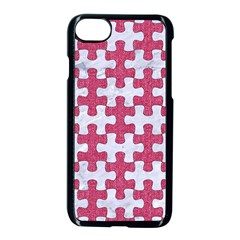 Puzzle1 White Marble & Pink Denim Apple Iphone 7 Seamless Case (black)
