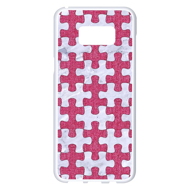 PUZZLE1 WHITE MARBLE & PINK DENIM Samsung Galaxy S8 Plus White Seamless Case