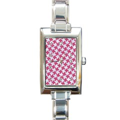 HOUNDSTOOTH2 WHITE MARBLE & PINK DENIM Rectangle Italian Charm Watch