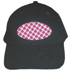 Houndstooth2 White Marble & Pink Denim Black Cap
