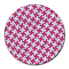 HOUNDSTOOTH2 WHITE MARBLE & PINK DENIM Round Mousepads