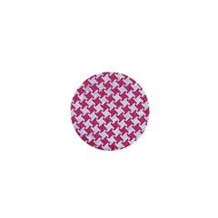 HOUNDSTOOTH2 WHITE MARBLE & PINK DENIM 1  Mini Magnets