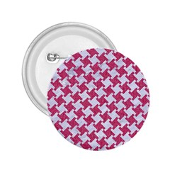 Houndstooth2 White Marble & Pink Denim 2 25  Buttons
