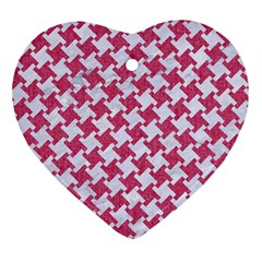 HOUNDSTOOTH2 WHITE MARBLE & PINK DENIM Ornament (Heart)
