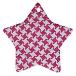 HOUNDSTOOTH2 WHITE MARBLE & PINK DENIM Ornament (Star) Front