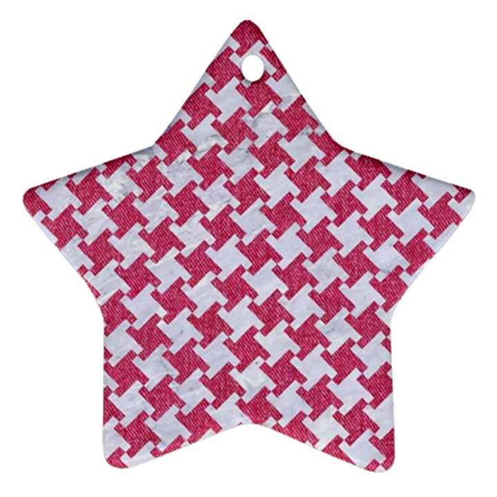 HOUNDSTOOTH2 WHITE MARBLE & PINK DENIM Ornament (Star)