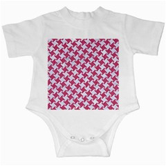 HOUNDSTOOTH2 WHITE MARBLE & PINK DENIM Infant Creepers