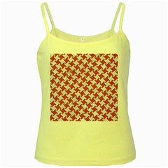 Houndstooth2 White Marble & Pink Denim Yellow Spaghetti Tank