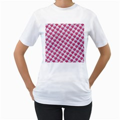 Houndstooth2 White Marble & Pink Denim Women s T Shirt (white) (two Sided) by trendistuff