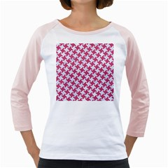HOUNDSTOOTH2 WHITE MARBLE & PINK DENIM Girly Raglans