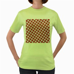 HOUNDSTOOTH2 WHITE MARBLE & PINK DENIM Women s Green T-Shirt
