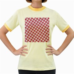HOUNDSTOOTH2 WHITE MARBLE & PINK DENIM Women s Fitted Ringer T-Shirts