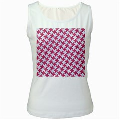 HOUNDSTOOTH2 WHITE MARBLE & PINK DENIM Women s White Tank Top