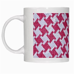 Houndstooth2 White Marble & Pink Denim White Mugs