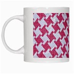 HOUNDSTOOTH2 WHITE MARBLE & PINK DENIM White Mugs Left