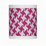HOUNDSTOOTH2 WHITE MARBLE & PINK DENIM White Mugs Center