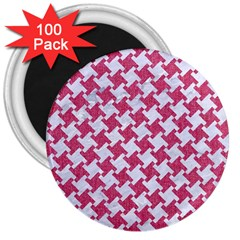 Houndstooth2 White Marble & Pink Denim 3  Magnets (100 Pack)