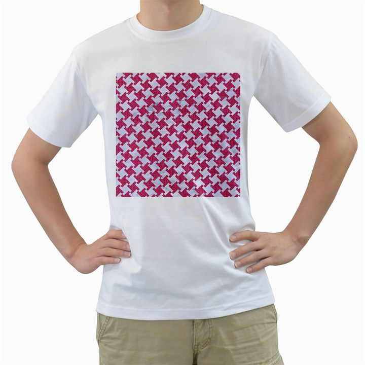 HOUNDSTOOTH2 WHITE MARBLE & PINK DENIM Men s T-Shirt (White) (Two Sided)