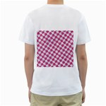 HOUNDSTOOTH2 WHITE MARBLE & PINK DENIM Men s T-Shirt (White) (Two Sided) Back