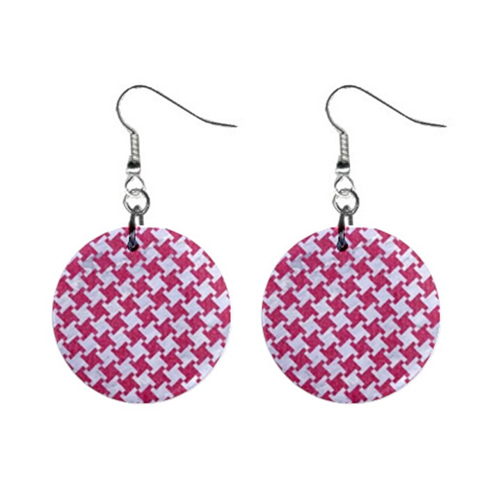 HOUNDSTOOTH2 WHITE MARBLE & PINK DENIM Mini Button Earrings