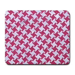 HOUNDSTOOTH2 WHITE MARBLE & PINK DENIM Large Mousepads