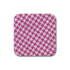 HOUNDSTOOTH2 WHITE MARBLE & PINK DENIM Rubber Coaster (Square)