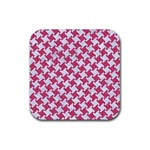 HOUNDSTOOTH2 WHITE MARBLE & PINK DENIM Rubber Square Coaster (4 pack)  Front
