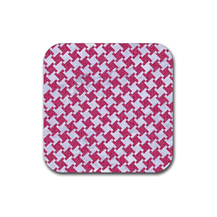 HOUNDSTOOTH2 WHITE MARBLE & PINK DENIM Rubber Square Coaster (4 pack)